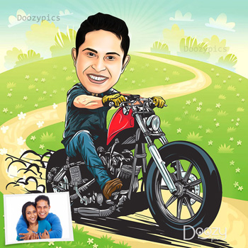 Bike Rider Caricature Art