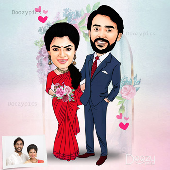 Newly Wedding Caricature Art